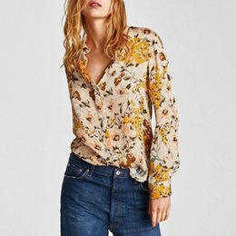 Wholesale Long Sleeve Casual Blouse Patterns - hot sale women's clothing printing blouses autumn flowers pattern rayon shirts button long sleeve yellow color 2018 top