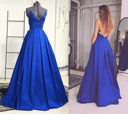 Wholesale Elie Saab Spaghetti V Neck - Elie Saab Royal Blue Long Evening Dresses 2016 V Neck With Criss Cross Spaghetti Straps Backless A-Line Sweep Train Prom Party Gowns