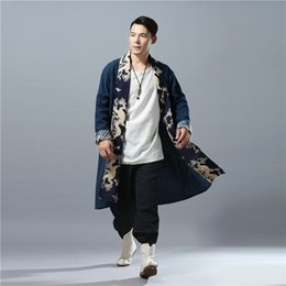Wholesale flax s - Wholesale- LZJN Spring Autumn Mens Trench Coat Hit Color Dragon Casual Capes Flax Cardigan Windbreaker Long Coat Tranchee Manteau Hommes