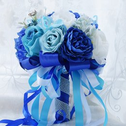 Wholesale Chinese Throw - Blue White Silk Rose Bridal Bouquet Hot Handmade Flowers Wedding Bridal Throw Flower Bridesmaid Bouquet Table Decoration ice Blue