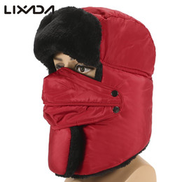 Wholesale Mask For Motor - Wholesale- Windproof Winter Hunting Hat Cap Cotton Trooper Hat Thickened Trapper Hat Ear Flap mask for Outdoor Skiing Snowboarding Motor