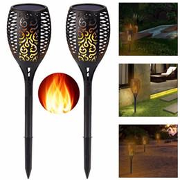 Wholesale Garden Torches - Edison2011 Solar Lamp Garden Waterproof 96 LEDs Tiki Torch Light Outdoor Courtyard Solar Energy Dancing Flame Flickering Decoration Lamps