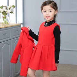 Wholesale Girls Suit Skirt Bow - Kids Girls Sets Baby Girls Bow Coat + Vest Tutu Skirt 2pcs Suits 2018 Autumn Winter Infant Princess Outfits Children Clothes Boutique D189