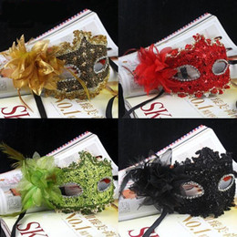 Wholesale Leather Flowers For Sale - 10pc Hot sale Venice party masks exquisite lace diamond leather lady Masks Masquerade princess mask with flower H44