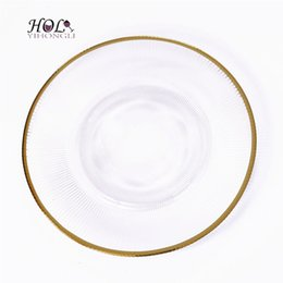 Wholesale Decorative Chargers - Handmade wholesale elegant decorative glass charger plate 13inch gold and green charger plate glass for wedding party