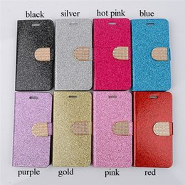 Wholesale Diamond Glitter Sparkling Leather - Glitter Sparkling Stand Wallet Case Diamond Button with Card Slot PU Leather Plastic inner Shell For Apple iphone 6S iphone 6S Plus