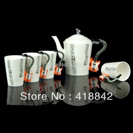 Wholesale Porcelain Music orange Guitar Electric Bass Music stave Coffee Cups Mug Pot Christmas Gift
