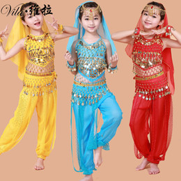 Wholesale indian ocean - Handmade Children Belly Dance Costumes Girls Bollywood Indian Performance Kids Belly Dancing Bellydance Cloth Whole Set 7pcs