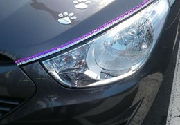 Wholesale El Sheet Car Stickers - Car accessories car headlights eyelashes Multiple color car eyelashes crystal diamond cubic crystal eyeliner free shipping HK12