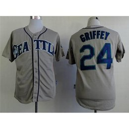 Wholesale Cheapest Branded Shirts - Mariners #24 Ken Griffey Gray Baseball Jerseys Top Quality Baseball Uniforms Brand Athletic Jerseys Stitched Men's Baseball Shirts Cheapest