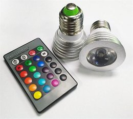 Wholesale Mr16 Led 7w 12v - 3W LED RGB Bulb 16 Color Changing 3W LED Spotlights RGB led Light Bulb Lamp E27 GU10 E14 MR16 GU5.3 with 24 Key Remote Control free DHL