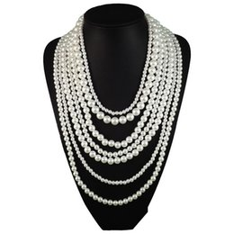 Wholesale Wholesale Long Beaded Necklaces - Fashion Long Multilayer Pearl Necklace Pendant Women Accessories Statement Necklace Choker Charm Girl Chain Party Jewelry Brand