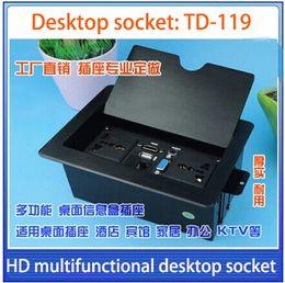 Wholesale Information Outlets - VGA,USB,3.5 AUDIO,HD HDMI ,network multimedia desktop socket   meeting desktop information box   outlet box tops | TD-119 Black