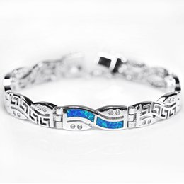 Wholesale Chinese Silver Bangles - 2016 New Fashion Bracelets Chinese Pattern Blue Opal Gem Charm Bracelets For Women 925 Sterling Silver Bracelets & Bangles SL034
