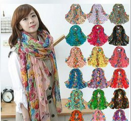 Wholesale Women Long Scarves - Hot! 10pcs Fashion Spring and Autumn Long Scarf Womens Floral Oversized Scarves Shawl Voile Scarf