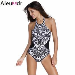 Wholesale Tribal Swimsuit - Wholesale- Aleumdr Swimwear Women 2017 Monochrome Colorful Tribal Print High Neck One Piece Maillot Bathing Suit Swimsuit Monokini 41856