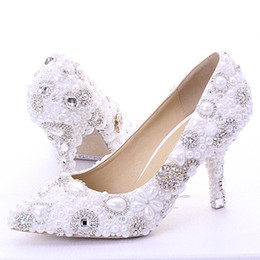 Wholesale Cocktail Shoes - New Rhinestone Pearl Wedding Dress Shoes Pointed Toe Stiletto Heels White 7cm Women Lady Cocktail Evening Bridal Accessories