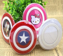 Wholesale Qi Standard - wholesale Cartoon Wireless Charger Fast Charging QI Standard Avenger Captain America for iPhone 8 Samsung Galaxy Edge with Retail Package