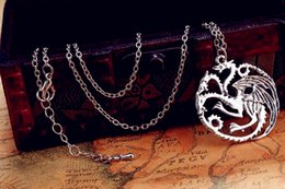Wholesale Dragon Pendant Necklaces - 2015 new Flim Jewelry Daenerys Targaryen Dragon Necklace Game of Throne Fire And Blood free shipping
