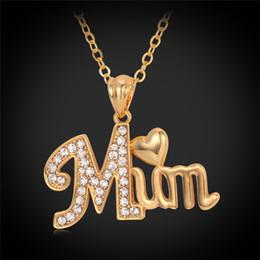 Festa della mamma Regalo Love MUM Ciondolo cuore oro 18k placcato oro reale strass collane gioielli pendenti per le donne P697 da collana dorata di corallo fornitori