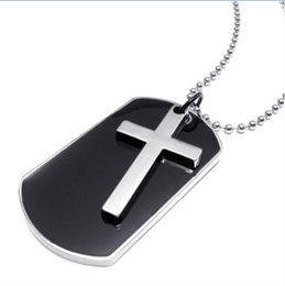 Wholesale Mens Stainless Steel Cross Pendants - Army Style Dog Tag Cross Pendant Mens Necklace Color Black Silver 23 inch Chain