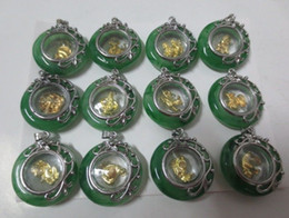Wholesale Chinese Silver Necklaces - Tibet Silver Handwork Mosaic Green Jade Pendant Chinese 12 zodiac