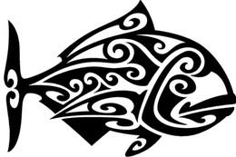 Wholesale Tribal Material - Wholesale Car Stickers Wholesale Hawaiian Tribal Design Fish Black Vinyl Sticker Car Truck Boat Window Decal