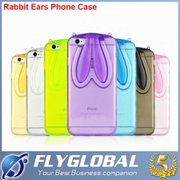 Wholesale Rabbit Iphone 4s - Phone case Cute Rabbit Ears Soft TPU Bumper Case Rubber Case Cover For iPhone 6 4.7 iphone 6 plus 5.5 inch iphone 4 4s 5 5s Bunny case cover