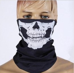 Wholesale Half Balaclava - Unisex Halloween Cosplay Bicycle Ski Skull Half Face Mask Ghost Scarf Bandana Neck Warmer Party headband Magic Turban balaclava