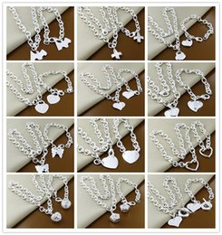 Wholesale Order Wholesale China - Mixed order 12set   lot 925 sterling silver plated Heart Pendant Necklace & Bracelet Fashion Jewelry Set Pretty cute gift free shipping
