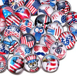 Wholesale Glass Symbols - Wholesale 50pcs Lot Mixed USA Symbol Pattern Multi 18mm Glass Snap Button Jewelry Faceted Glass Snaps Fit Bracelet Ginger Snap Jewelry