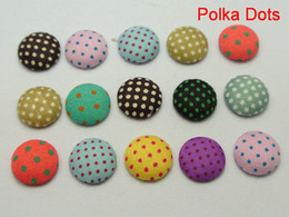 Wholesale Fabric Covered Clips - 50 Mixed Color Flatback Polka Dots Fabric Covered Buttons Round 12mm for DIY Hair Clip