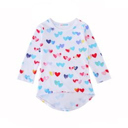 Wholesale Posh Clothing - Colorful Love Heart Print Baby Girls Dresses 2018 New Posh Cartoon Printed Kids Clothing Hot Sales Children Boutique Clothes