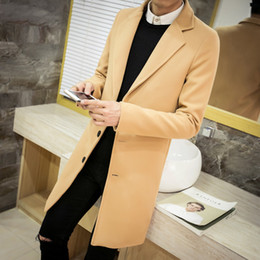 Wholesale Clothing Large Sizes - Wholesale- Winter men's tops clothing brand fashion windbreaker new society suitable coat trench coat men solid color Large size Coat M-5XL