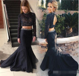 Wholesale One Shoulder Taffeta Evening Dress - 2016 Stunning Two Pieces Mermaid Prom Dresses Long Sleeves Pearls Beaded High Neck Open Back Court Train Paolo Sebastian Evening Gowns
