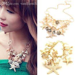 Wholesale Fashion Necklaces Seashells - Wholesale-Amorous feelings of fashion temperament beach charm seashells starfish imitation pearl necklace fashion apron's statement