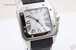 Wholesale Roman Leather - Luxury Brand White Roman Dial Black Leather Belt Mens White Stainless Pointer Mens Wristwatch