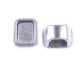 Wholesale Tibetan Wedding Ring - 15PCS Tibetan Silver 14x10mm Retangle Cabochon Settings Bail Rings A32128