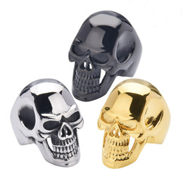 Wholesale Titanium Sports Wholesale - Men's Biker Stainless Steel Ring Stainless Steel Ring Skull For Man Unique Gothic Punk Retro Sport Biker Skeleton Male Finger Rings