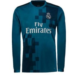 Wholesale Sleeve Flash - 2017 18 top Thai Quality real madrid long sleeve Soccer Wear Customized name Toni Kroos 9 BENZEMA 11 BALE 7 RONALDO football soccer jerseys