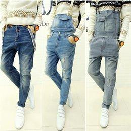 Wholesale Mens Denim Suspenders - Wholesale-2015 Newest Mens Denim Jumpsuit Bib Pants Trousers Long Straight Overalls Suspenders Jeans Men Ripped Stylish Size M L XL XXL