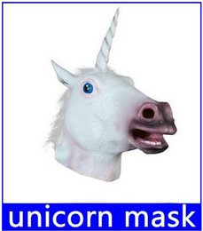 Wholesale Creepy Horse Heads - Free Shipping Creepy Unicorn Horse Mask Head Halloween Costume Theater Prop Novelty Latex Rubber new arrive!12%off top sale free shipping