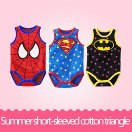Wholesale Baby Superman Jumpsuit - Baby Boys Girls Romper Sleeveless Rompers Baby Jumpsuit Superman Spiderman Batman Romper Cosplay Costume