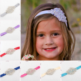 flowered headband diamonds Promo Codes - Kids Girls Luxury Shine diamond Headbands Flower girl Wedding Hair bands Children Hair Accessories Christmas boutique Party Decoration gift