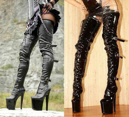 Wholesale Buckle Boots Men Knee High - BDSM Sex fetish Women black shiny stylish lace up three buckles 8inch high heel over the knee thigh high boots BDSM men crotch boots pu matt