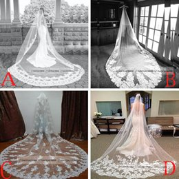 Wholesale Edging For Bridal Gowns - Cheap 2015 White Ivory Lace Appliques Long Veils For Chapel Cathedral Train Wedding Dresses Bridal Gowns Accessories Cheap Free Shipping