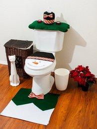 Wholesale Green Seat Cover Set - Christmas Bathroom Toilet Seat Cover and Rug Set - Green Snowman 3 Pcs Set Great Christmas Festival Home Decoration