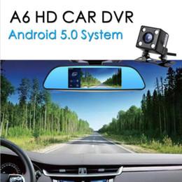 Wholesale G Arms - New 7'' 1080P Android 5.0 Car Rearview Mirror Car DVR Dash Camera Wifi Dual Lens GPS Nav