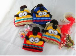 Wholesale Minions Hats For Kids - Cute babys minion warm crocheted hats for winter 2015 hot Despicable Me Minions knitted beanies for 2-8Y kids boys girls factory price