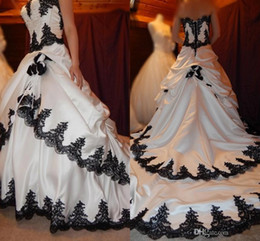 Wholesale Simple Elegant Chapel Train - Black and White Wedding Dresses 2016 Gothic Lace Applique Tiered Pageant Bridal Dress Long Back Lace Up Satin Elegant Bridal Wedding Gowns